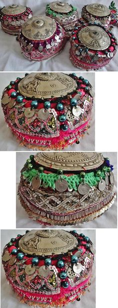 Traditional festive women's hats, from the Pomak villages near Biga (Çanakkale province), ca. 1925-1950. Adorned with metallic & mica sequins, several types of glass beads and balls, cotton 'oya' (Turkish lace) and late-Ottoman coins. Topped with a silver(y) 'tepelik' (hat cover). (Source: Tekin Uludoğan, Balıkesir).