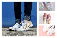 9 very cool DIY sneaker makeovers for your plain white canvas sneakers!