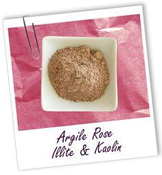 Argile rose surfine: 2,20 € pour 250 g Propriétés: nettoyante, purifiante, cicatrisante, apaisante, donne de l'éclat. Idéale pour peaux sensibles. Utilisations: masque