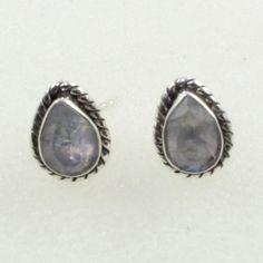 Rainbow Moon Stone New Look 925 Sterling Silver Earrings Studs by JaipurSilverIndia on Etsy