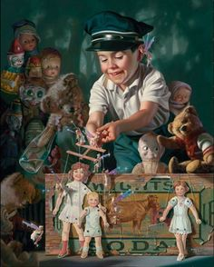"Made by: Bob Byerley - (Born: 1941 ; Bob is now internationally known for his realistic portrayals of children in nostalgic settings; settings that reflect his own ""kinder and gentler"" childhood)"
