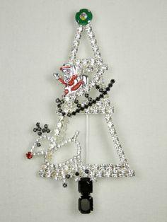 Large Christmas Tree Crystal Rhinestone Figural Pin Brooch Santa Rudolph