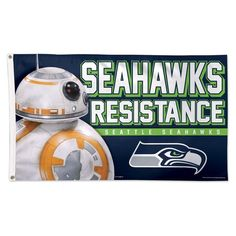 Seattle Seahawks Star Wars BB-8 FALCONS RESISTANCE Indoor Outdoor Football Flag 3' x 5' Banner metal holes Flag Custom Flag