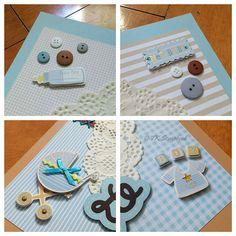Quadro porta maternidade em scrapbook (detalhes da decoração)