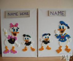 Personalised Donald or Daisy Duck Walt Disney Canvas Wall Art.Birthday Hama Bead - karen3367 Ebay