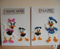 Personalised Donald or Daisy Duck Walt Disney Canvas Wall Art.Birthday Hama Bead - karen3367 Ebay