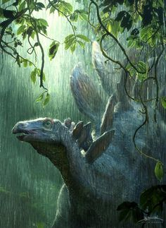 antediluvianechoes:  Stegosaurus, David Krentz Rain whispers against leaves and murmurs on Stegosaurus's plates. It's an early June sunshowe...