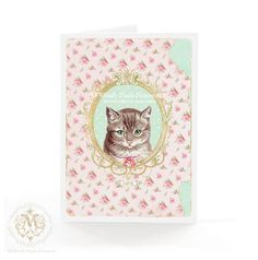 Cat card love cat birthday card vintage cat cat by mulberrymuse