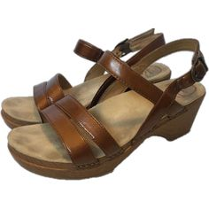 f56ac9e9d978  120 Dansko Womens Size EU 39 US 8.5 Comfort Sandals Shoes Leather Strap  Brown  Dansko  AnkleStrap