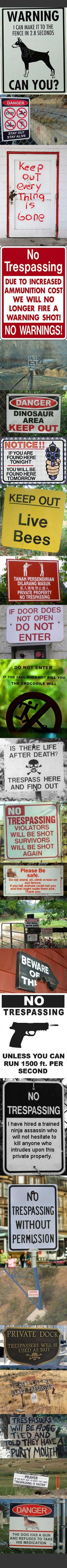 Brutally honest no trespassing signs