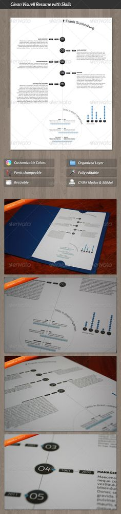 Clean Visuell Resume with Skills Compare template $4