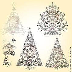 Digital Christmas Trees Retro Vintage LARGE Christmas Heritage Flourish Xmas Trees Black Clipart Ornaments Make Your Own Xmas Card 10046 #Digital #Christmas #Trees