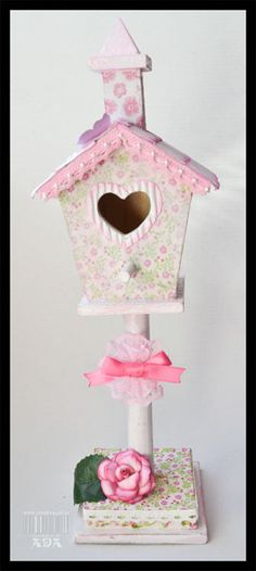 Birdhouse Craft, Baby Shower Deco, Diy And Crafts, Paper Crafts, Bird Party, Baby Shawer, Lace Wedding Invitations, Heart Cards, Pink Christmas