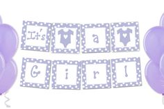 Printable Its a Girl Banner Pink Purple or by jackaroodesigningco Its A Girl Banner, Diy Baby Shower Decorations, Footprint, Bunting, Pink Purple, Onesies, Printables, Party Banners, Shower Party