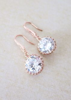 Rose Gold Cubic Zirconia Round drop Earrings - gifts for her, bridal gifts, pink rose gold weddings, bridesmaid earrings jewelry, www.colormemissy.com