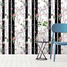 A modern butterfly wallpaper, with classical watercolour meeting funky stripes. Girls Bedroom Wallpaper, Kids Wallpaper, Wallpaper Samples, Wall Wallpaper, Striped Wallpaper, Butterfly Wallpaper, Beautiful Butterflies, Elle Decor, Designer Wallpaper