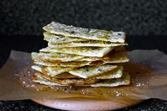 Flatbreads with honey, thyme, and sea salt.