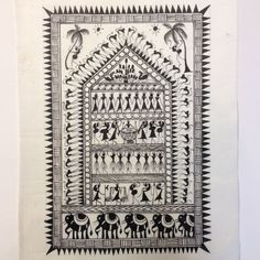 Warli painting is a very popular form of tribal painting in India. Their major themes include the harvest season, celebration, wedding, rituals and births. Warli is the name of the largest tribe found Worli Painting, Wall Painting Decor, Canvas Painting Tutorials, Farm Paintings, Indian Art Paintings, Madhubani Art, Indian Folk Art, Madhubani Painting, Tribal Patterns