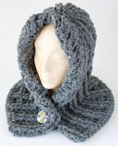 free crochet neck warmer patterns | The pattern is at Annie's Attic, Chunky Hooded Neck Warmer