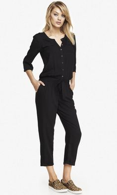 Woven button front jumpsuit by Express.