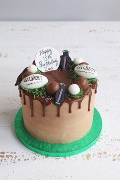 Buttercream drip cakes are a great choice for any celebration. Choose from a chocolate or floral design or pick a theme you like for a personal touch. Golf Birthday Cakes, Dad Birthday, Birthday Ideas, Rugby Cake, Two Tier Cake, Sport Cakes, Easy Cake Decorating, Cake Business, Drip Cakes