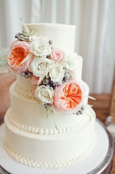 Spring Floral Wedding Cake   Photo: The Nichols