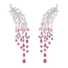 "Chanel ""Plume enchantée"" earrings / 18-karat white gold, diamonds and pink sapphires"