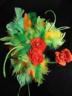 Cha Cha Cha 2piece Flamenco style Feather Hairpiece by HotHeadWear
