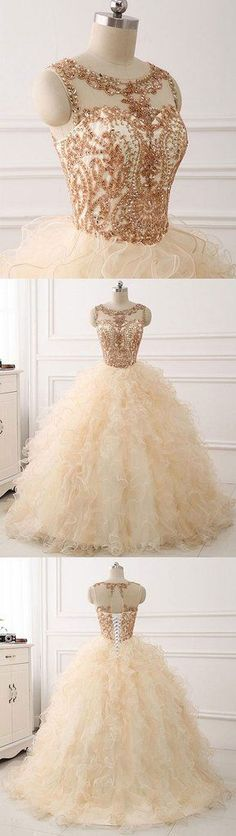 Champagne round neck tulle long prom gown ,champagne evening dress #eveningdresses #homecomingdresses