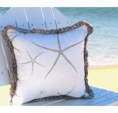 Brighton Beach House Pillow Tan Starfish