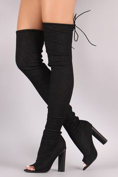65a349f047b Drawstring Collar Heeled Over-The-Knee Fitted Denim Boots