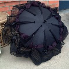 Items similar to Goth Umbrella Neo Victorian Style Lace Trimmed Parasol Cosplay Elegant Gothic Lolita EGL Steampunk Clothing Gothic Funeral Visual Kei - Eva on Etsy