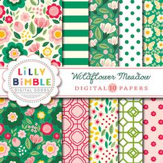 50% off Wildflower Meadow Digital scrapbook paper by LillyBimble