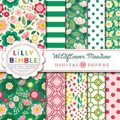 50% off Wildflower Meadow Digital scrapbook paper by LillyBimble