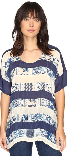 Johnny Was Retreat Panel Top (Multi A) Women's Clothing - Johnny Was, Retreat Panel Top, C88682A-12-976, Apparel Top General, Top, Top, Apparel, Clothes Clothing, Gift, - Street Fashion And Style Ideas