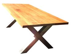 Oak dining table with chunky modern industrial stainless steel X- frame