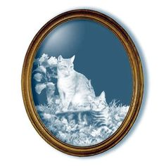 Hobbes and Topper Cat Large Oval Mirror