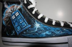 Custom Painted Doctor WHO Handpainted  Shoes DON'T by Scrapcrafter, $150.00 Anyone want to buy these for me?