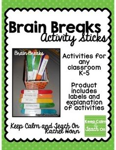 Brain Break Activity SticksThis is a file use can use to create your own brain break activities.To create you will just need labels to print on and large craft sticks. These will work great for grades K-5! Enjoy!***************************************************************************** Follow Me:Keep Calm and Teach On  Pinterest Instagram Facebook *****************************************************************************Customer Tips:How to get TPT credit to use on future purchases…