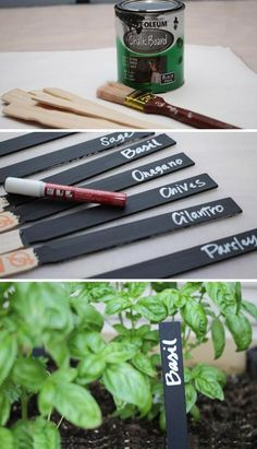 Awesome Pins from Others Chalkboard paint garden markers. Easy project for your spring garden. www. Easy Garden, Herb Garden, Garden Stakes, Big Garden, Garden Crafts, Garden Projects, Diy Crafts, Container Gardening, Gardening Tips