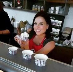 Lana serving gelato at her favorite little place in Vancouver