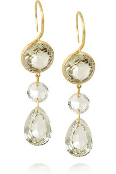 MARIE-HÉLÈNE DE TAILLAC  22-karat matte-gold quartz drop earrings  £1,734.29