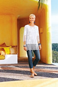 Eyelet Embroidered Cotton Tunic #chicos