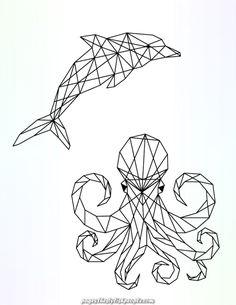 Dauphin et pieuvre à colorier image polygonale pour imprimer - Tätowierung best Geometric Drawing, Geometric Shapes, Geometric Animal, 3d Zeichenstift, Line Art, Octopus Colors, Posca Art, Polygon Art, Tattoo Flash Art