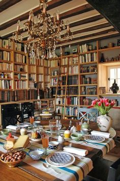Dining by the books - love library/dining rooms ~mgh