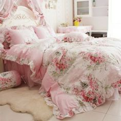 shabby chic roses lace and pink rooms | Romantic Rose Print Bedding Sets,Blue Pink Bedding Sets,Princess Lace ...