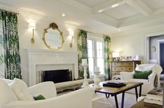 Incredible white and green living room with recessed coffered ceiling and wainscoting paneled fireplace surround. Living Room Green, Formal Living Rooms, Home And Living, Living Spaces, Living Room Inspiration, Interior Inspiration, Transitional Living Rooms, Fireplace Surrounds, Home Fashion