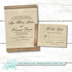 Rustic Burlap and Lace - Printable Wedding Invitation and RSVP Card by Joytations on Etsy. Print at home or at a local print shop! Visit my Etsy shop fro details: www.etsy.com/shop/joytations