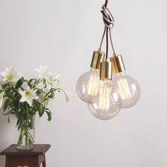Our Gold Cluster Pendants are made from solid brass, with fabric cord combinations of champagne, silver and chocolate brown. The cluster of three pendants can be hung straight down along side each other, draped from the ceiling using a Bath Ideas, Chocolate Brown, Solid Brass, Cord, Champagne, Cable, Fans, Bulb, Pendants