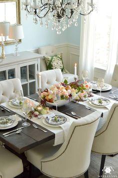 Restoration Hardware Trestle Table World Market Linen Lydia Chairs Blue Dining Room